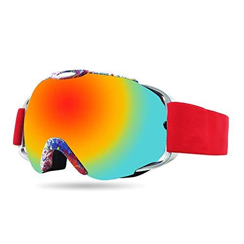 Snowboard Goggles Ski Goggles TPU Cadre Double Anti-Brouillard Red Ski Lunettes de ski Cadeaux for Femmes Hommes Cocker Myopie Grandes lentilles sphériques Sports d'hiver Équipement d'extérieur de ple
