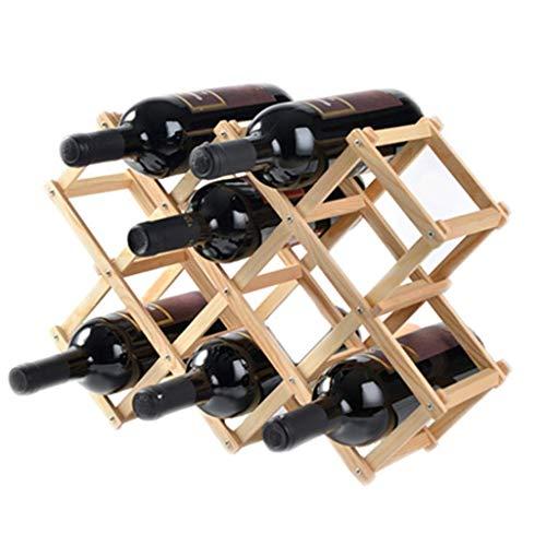 Européenne En Bois Massif Casier À Vin Décoration Créative Casier À Vin En Bois Massif Présentoir Ménage Vin Bouteille Porte Salon Vin (Color : A, Size : Ten bottles)