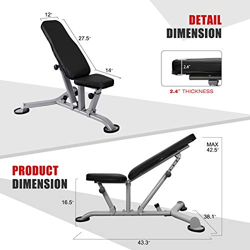 ER KANG Adjustable Weight Bench- 8+3 Positions Body Workout Bench, Multi-Purpose Incline/Flat Bench for Home Gym Fitness Strength Training (Black)