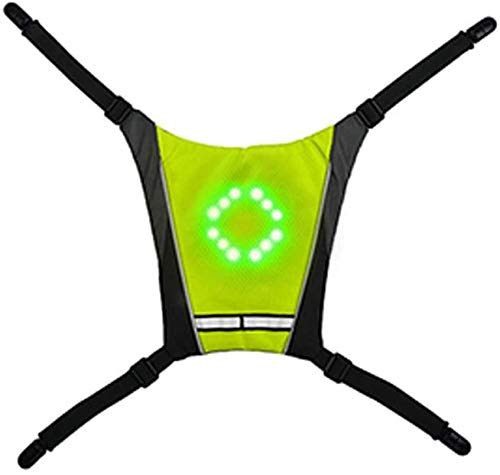 YFAZTS Bicycle Backpack Wireless Remote Control Led Warning Luminous Light Turn Signal Backpack Pendant Night Riding Pointing Light,Green