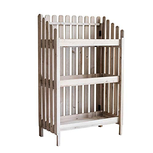 JCNFA planken 3 verdiepingen hek Plant Stand, massief hout opslag Rack, multifunctionele partitie, Plant Stand opslag plank voor tuin, hout boekenkast