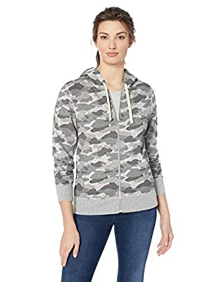 Amazon Essentials Women's French Terry Fleece Full-Zip Hoodie, grey camo, Medium by Amazon Essentials