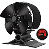 Wood Stove Fan-Small Size,4 Blades Silent Operation with Stove Thermometer for Wood/Log...