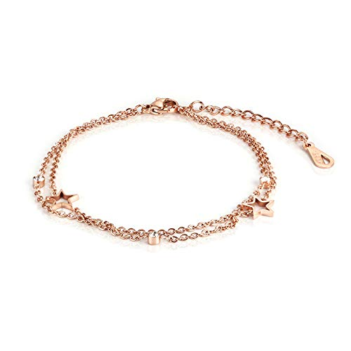 Pulsera con doble estrella con cinco ramas huecas, bonita pulsera chapada en oro rosa de moda simple