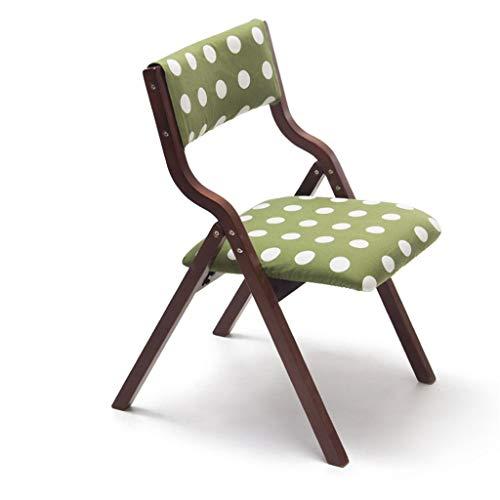 ZHJBD Meubilair Kruk/Houten Vouwstoel met rugleuning die kan worden gebruikt voor Bureau Eettafel Make-up Kind Leren Stoel voor Huis & Commerciële Bruin Groen Polka Dot