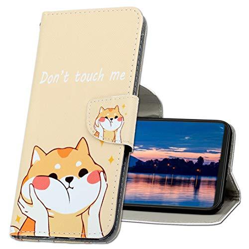 MRSTER Handyhülle für LG K61 Hülle Leder Flip Handyhülle Schutzhülle Tasche Hülle mit Kartenfach Standfunktion Magnetverschluss für LG K61. XC1 Shiba Inu
