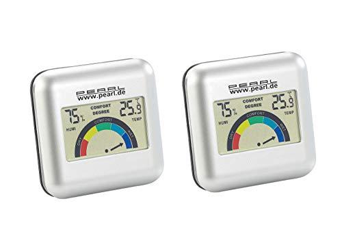 PEARL Luftfeuchtigkeitsmesser: 2er-Set digitales Hygrometer mit Thermometer mit grafischer Anzeige (LCD-Digital-Thermometer-Hygrometer)