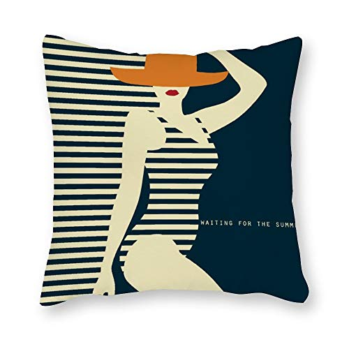 DKISEE Bikini Beauty Decorative Square Throw Pillow Cover Stylish Modern Cushion Case Protector Sham for Sofa Bedroom Car 20x20 Inch