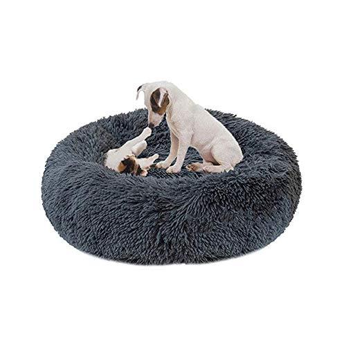 Mjuk tvättbar hundbädd i plysch för liten medium stor hund, varm lugnande säng husdjur lugnande säng sovdyna hundkorg kudde säng, mjuk kennel