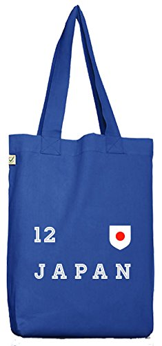 ShirtStreet Wappen Fußball WM Fanfest Gruppen Bio Baumwoll Jutebeutel Stoffbeutel Trikot Japan, Größe: onesize,Bright Blue