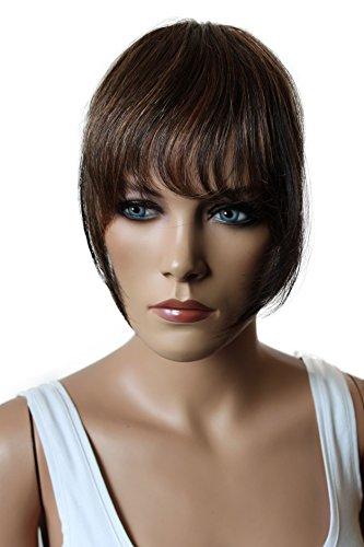 PRETTYSHOP 100% ECHTHAAR Pony Haarteil Haarverdichtung Haarverlängerung Braun Mix H313b