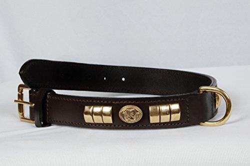 Collar para perro, para Staffordshire, Bull Terrier, decorado con tachuelas de latón, color negro y marrón