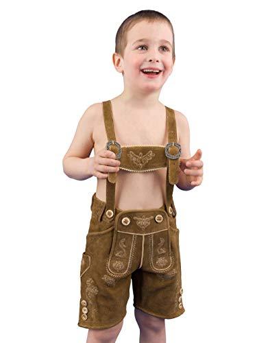 Almsach Trachten Trachtenlederhose Kinder Simmerl Kid REH Ziegenvelour Kinderlederhose Lederhose Kinder Jungen - 116