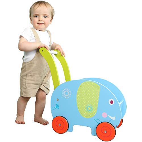 labebe - Baby Walker Toy for Girl&Boy, Kid Push/Pull Wagon Cart, 4 Wheels...
