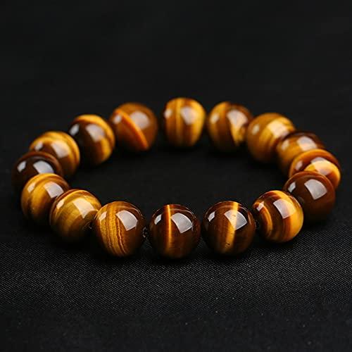 ACEACE Natural Stone Tiger's Eye Bracelets for Women Men Strand Charm Bracelets Gift (Metal Color : Beads 6mm)