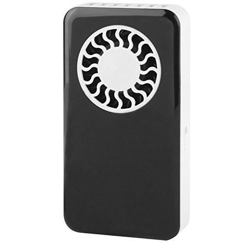 WoneNice Mini USB Bladeless Fan Rechargeable Ultra-Thin Handheld Air Conditioning Fan, Battery Operated Summer Personal Pocket Fan, Black