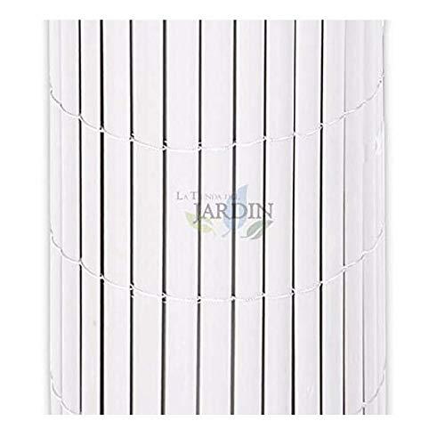Suinga CAÑIZO de OCULTACIÓN blanco PVC 1 x 5 m, simple cara para jardines, terrazas y balcones.