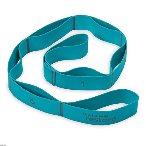 Gaiam Restore Stretch Band Strap - Elastic Stretching Strap with Loops for Medium Resistance Stretch Assist on Leg, Hamstring, Exercise/Fitness/Workout, Physical Therapy