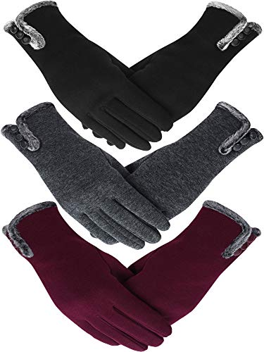 Women Winter Gloves Lined Warm Gloves Touchscreen Mittens for Cold Weather (3, Color 1)