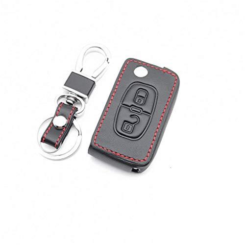 Funda de piel para llave de coche Peugeot 207, 307, 308, 407, 408, 408, para Citroen C3, C4, C4L, C5, C6, accesorios de cubierta protectora (negro)
