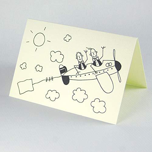 witzige Grußkarte mit Strichmännchen: zwei Männer im Flugzeug, Klappkarte inkl. rotem Umschlag (in der Fahne ist Platz für eigenen Text, beispielsweise die Namen der Bräutigame), zum Einladen, Bedanken, Beglückwünschen, Zeichnung: Franz Basdera