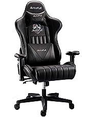 AutoFull Gaming Stoel Ergonomische Bureaustoel Pu-leder Computerstoel,Zithoogte en Rugleuning Verstelbaar, met Lendensteun en Voetsteun,zwart(drie jaar garantie)
