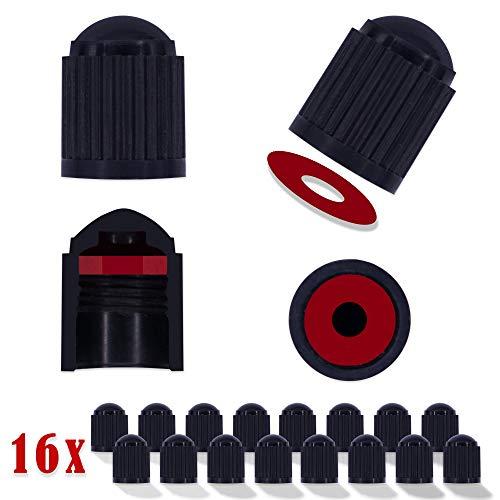 ® NEU 16 Premium Ventilkappen Auto - Ventilkappen Fahrrad mit integrierter Dichtung, für E-Bike, Rennrad, Motorrad, Staubschutzkappen Auto, Universal, KFZ-Zubehör PKW