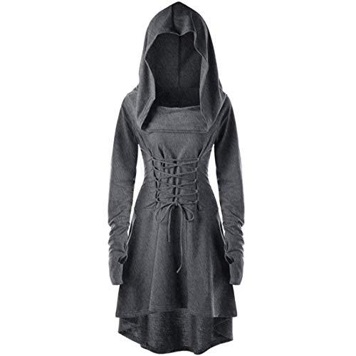 MENAB Maxi Kleider Damen Gothic Steampunk Mittelalter Langarm Elegant Mit Kapuze Kleid Bodenlangen Cosplay Umhang mit Kapuze Lange Samt Cape für Halloween Karneval Fasching Vampir Kostüm