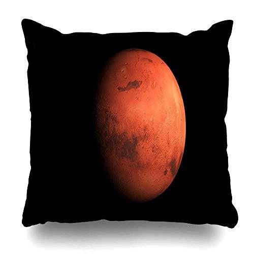 LXJ-CQ Funda de Almohada Espacial Rojo Misión Render Planeta Marte en Ciencia Astrología Astronomía Ambiente Sistema de Cosmos Negro Funda de Almohada Decorativa 18x18 Pulgadas