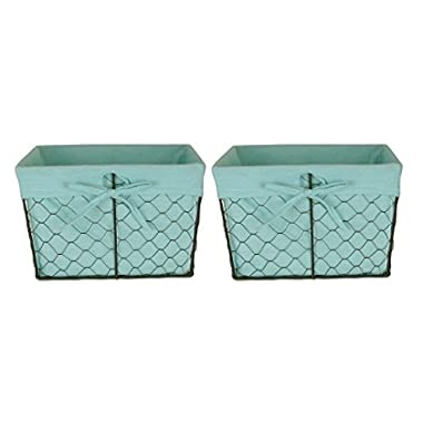 DII Farmhouse Vintage Food Safe Metal Chicken Wire Storage Baskets with Removable Fabric Liner for Home Décor Or Kitchen Use, Set of 2, Aqua