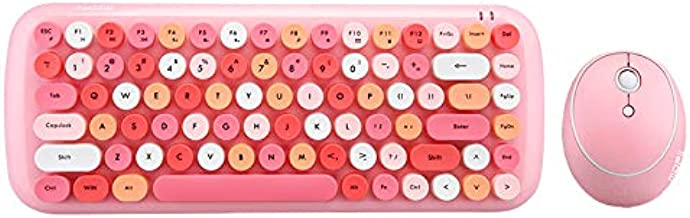 KBD Mini Wireless 2.4G USB Keyboard Mouse Set Round Keycap Multi-Colour Cute Lovely for Girls (Multicolor Pink)…