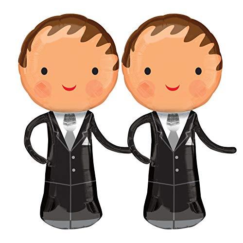 PartyMarty Folienballons Hochzeit Ehepaar, für Hochzeit, Hochzeitsdekoration, Verlobungsfeier, Standesamt, Hochzeitsgeschenk (männlich + männlich)