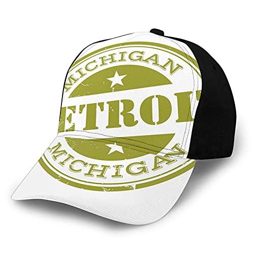 FULIYA Gorra de béisbol para el sol de Hip Hop, diseño de sello de Detroit Michigan con estrellas, turismo, viajes, pescador, playa, protección solar, color morado para hombres y mujeres