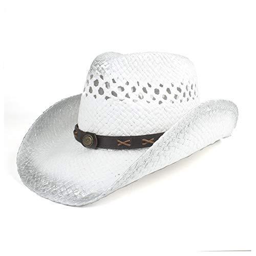 Sombreros Cowgirl Moda de ala ancha Western Cowboy sombreros de paja ahuecan hacia fuera el sombrero de paja for hombres mujeres de color caqui blanco Unisex Jazz Fedora Trilby Hat Summer Sun Cap de p
