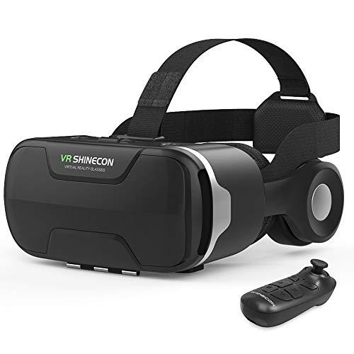 最新VRゴーグル VRヘッドセット VRヘッドマウントディスプレイ 3D スマホVR ヘッドホン付 120°視野角 4.7~6.5インチスマホ対応 本体操作可 Bluetoothコントローラー付 ワンクリック受話 近視/遠視適用 目幅/ピント調節可 非球面光学レンズ 着け心地よい iPhone& Androidなどスマホ対応 放熱性良い 日本語説明書付