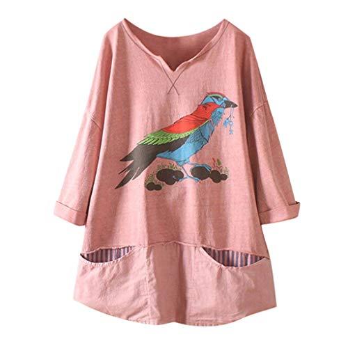 TUDUZ Blusa Mujer Manga Larga Camisa Pájaro De Dibujos Animados Impreso Camiseta Lino Tops Bolsillo (Rosado, M)