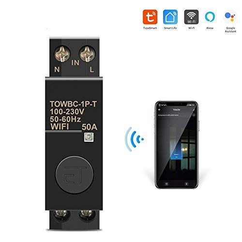 Interruttori automatici Telecomando per interruttore intelligente WIFI Din Rail WIFI di Smart Life TUYA per Smart Home 18mm 32A 50A TOMZN Mini TOWBC-1P-T-32A