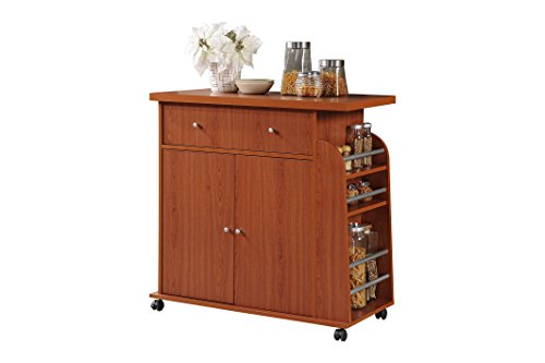 Hodedah Import Kitchen Island with Spice Rack and Towel Rack, Cherry