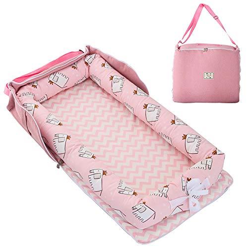 TEALP Tumbona para bebé con Almohadas, Nido Transpirable para Bebé Recién Nacido para Cosleeping, Capazo de Bebé, elefante rosa
