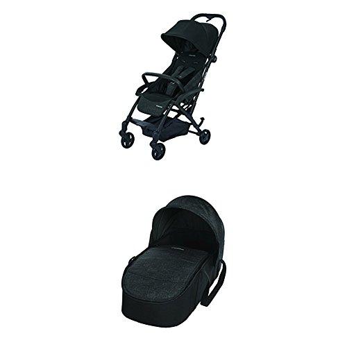 Maxi-Cosi Laika kompakter Kombi-Kinderwagen + Maxi-Cosi Laika Softtragetasche & Kinderwagenaufsatz (ab Geburt verwendbar), nomad black
