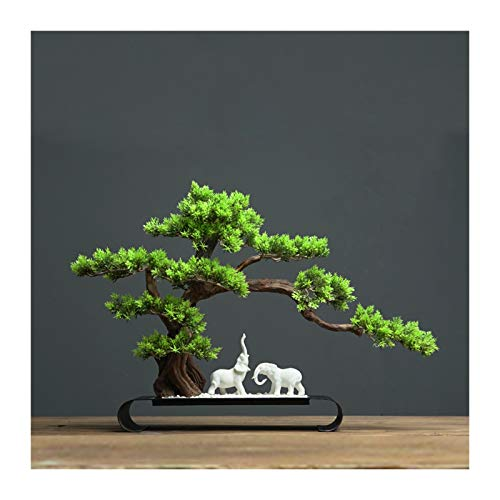 CJshop Planta Artificial Bonsai Artificial Pine Tree Desk Mostrar árbol Falso y Lucky Elephant Sculpture Decorative Sculpture Faux Faux Plant For Home, Office Decoration Árboles Artificiales