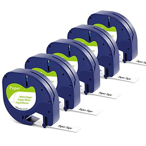 Markurlife kompatible Etikettenband als Ersatz für Dymo LetraTag 12mm x 4m Paper White 91220 Etikettenband 10697 Papierband S0721520 Schwarz auf Weiß für LetraTag LT-100H LT-100T XR Etikettendrucker