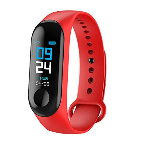 Muamaly Fitness Armband mit Pulsmesser Blutdruckmesser, Fitness Tracker Smartwatch Wasserdicht IP67 Aktivitätstracker Schrittzähler Uhr Damen Herren Farbbildschirm SMS für iPhone Android Handy (Rot)