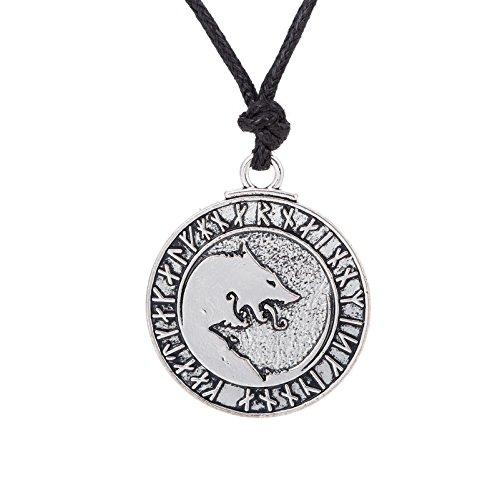 Skyrim nordischer Wikinger Fenrir Wolf 24 Amulett Runen Talisman für sichere Halskette