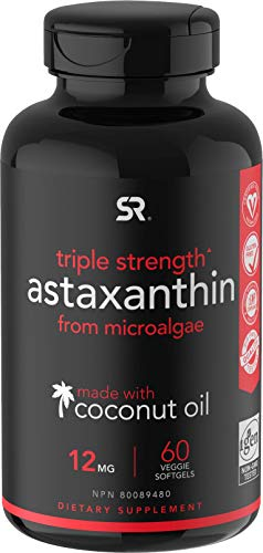 Vegan Astaxanthin (12mg) with Organic Coconut Oil for Better Absorption | Vegan Certified & Non-GMO Project Verified - 60 Veggie Softgels (2 Month Supply)