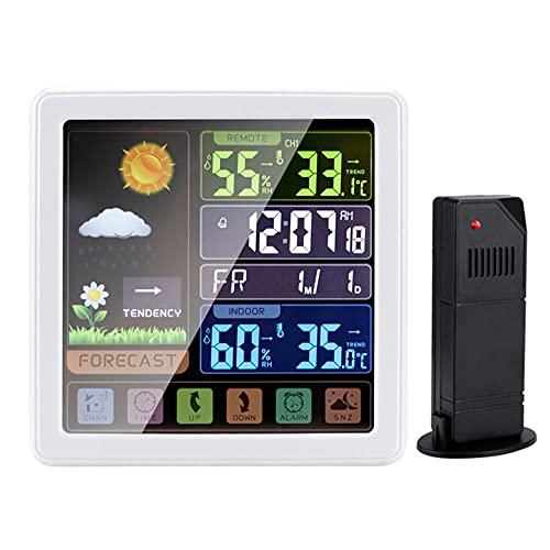 TUIHJA Reloj Despertador Digital, EstacióN MeteorolóGica InaláMbrica de Madera, TermóMetro HigróMetro para Interiores y Exteriores con Función de Repetición del Sensor Pantalla de Tiempo