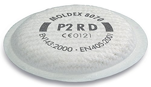 MOLDEX 865026 Austauschbare Partikelfilter P 2 Nummer 8070, passend zu Mehrwegmaske, bis 10-fach MAK, VPE 8, 8 Stück
