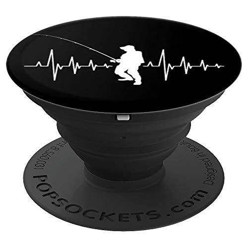 Angeln Heartbeat Outfit I Angler mit Herzschlag I Fun - PopSockets Ausziehbarer Sockel und Griff für Smartphones und Tablets