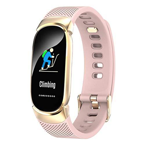 Gnaixyc Monitor De Actividad del Ritmo Cardíaco, Pantalla Táctil Usable Podómetro Bluetooth Pulsera Inteligente con Monitor De Sueño, Reloj Deportivo Inteligente,Rosado