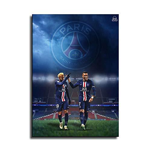 Neymar und Mbappe Leinwand-Kunst-Poster und Wand-Kunstdruck, modernes Familienschlafzimmerdekor-Poster
